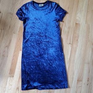Late 90s DKNY Jean's Blue Velvet Dress L